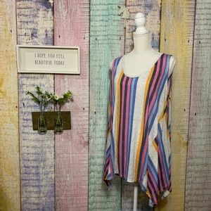Ana A New Approach Striped Colorful Speckled Top
